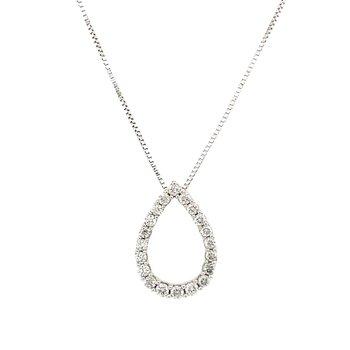 White Gold Diamond Pear Shape Necklace