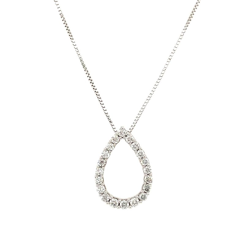 Lauray's Signature Collection White Gold Diamond Pear Shape Necklace