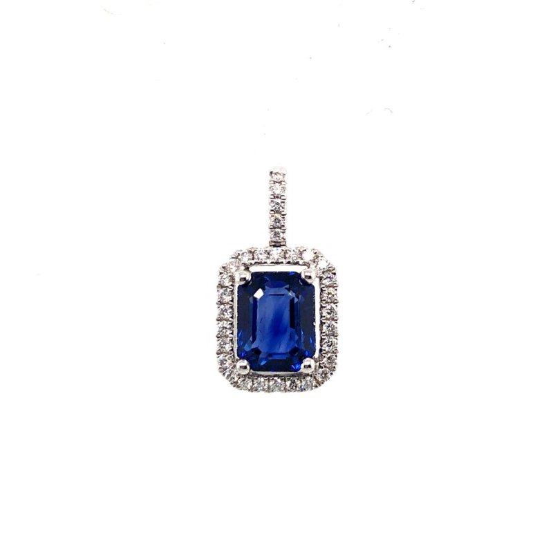 Lauray's Signature Collection White Gold Emerald Cut Sapphire Pendant
