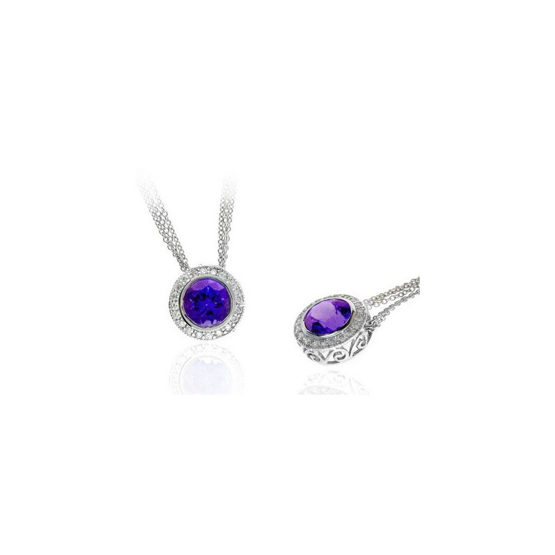 Lauray's Signature Collection White Gold Amethyst and Diamond Necklace