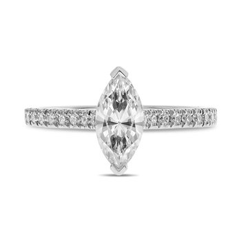 White Gold Marquise Diamond Semi Mounting