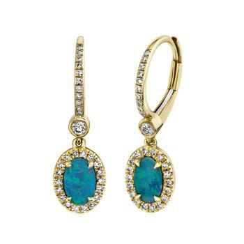 Yellow Gold Diamond and Opal Dangle Earrings