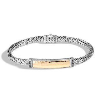 Classic Chain Hammered Station Bracelet with Black Sapphire
