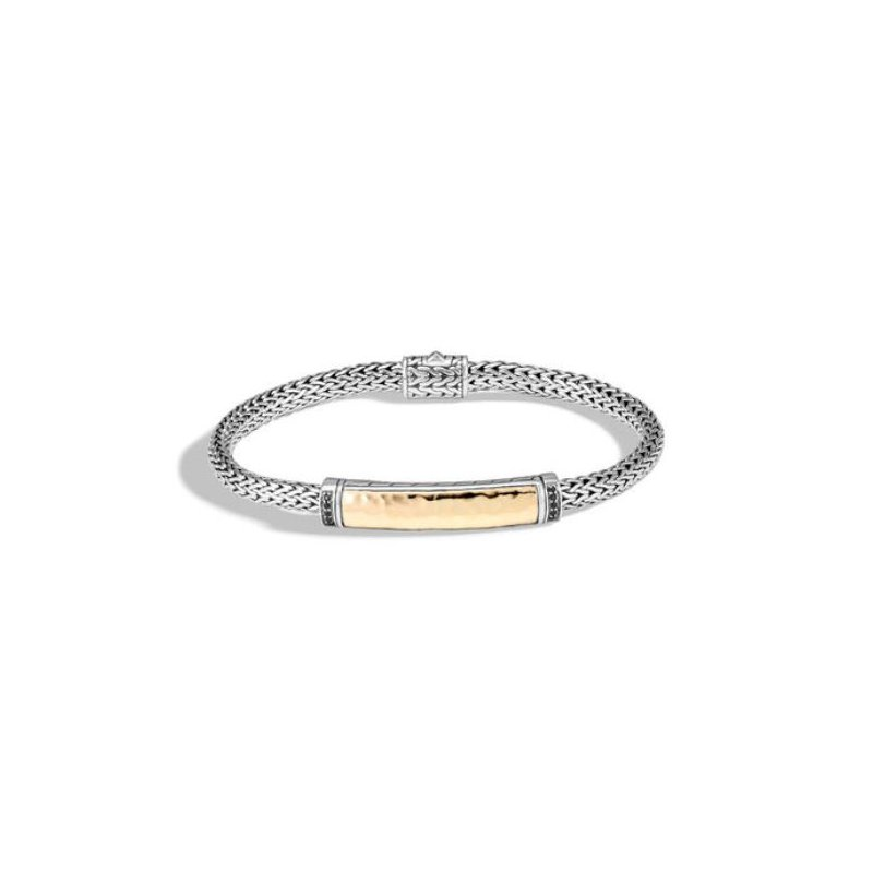 John Hardy Classic Chain Hammered Station Bracelet with Black Sapphire