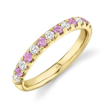 Yellow Gold Diamond and Pink Sapphire Band