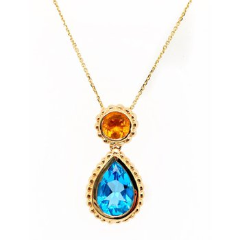 Yellow Gold Citrine and Blue Topaz Necklace