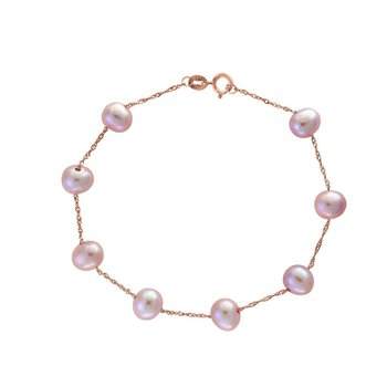 Rose Gold Pink Fresh Water Pearl Bracelet
