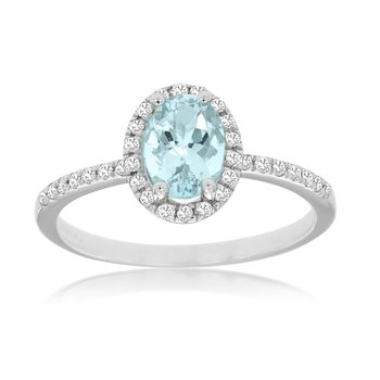 White Gold Aquamarine Ring