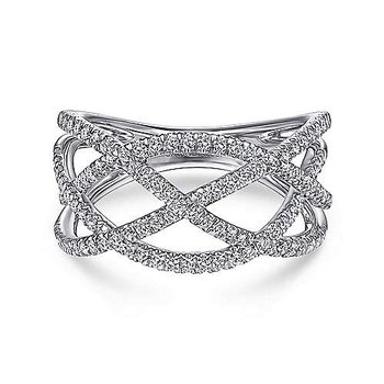 White Gold Layered Grid Diamond Ring