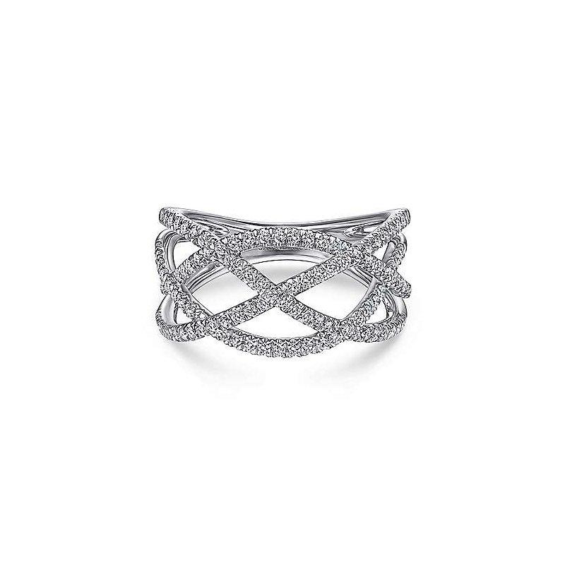 Gabriel Catalog White Gold Layered Grid Diamond Ring