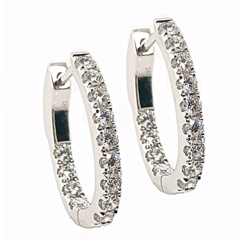 Lauray's Signature Collection White Gold Diamond Hoop Earrings