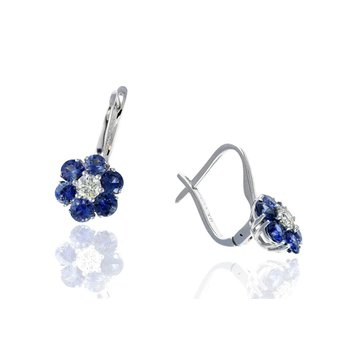 White Gold Sapphire and Diamond Flower Earrings
