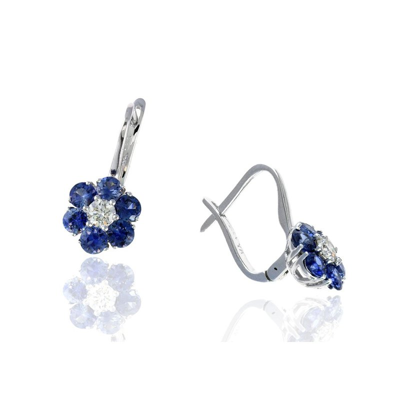 Lauray's Signature Collection White Gold Sapphire and Diamond Flower Earrings