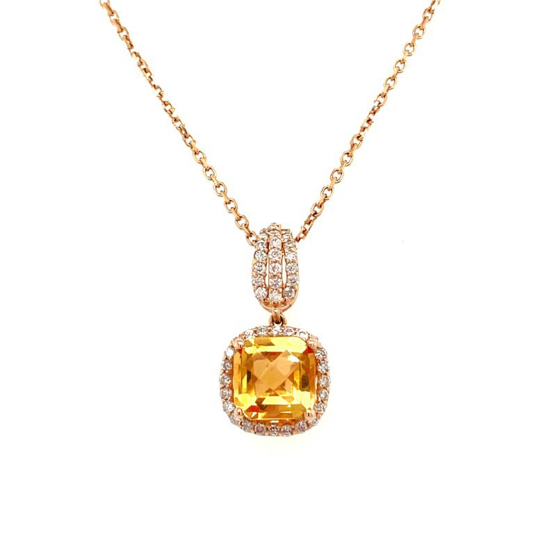 Lauray's Signature Collection Yellow Gold Citrine and Diamond Necklace