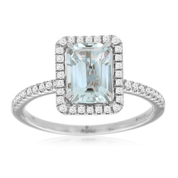 White Gold Emerald Cut Aquamarine and Diamond Ring