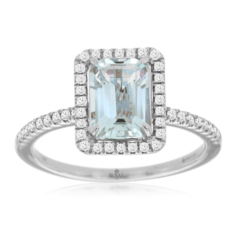 Lauray's Signature Collection White Gold Emerald Cut Aquamarine and Diamond Ring
