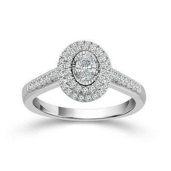 White Gold Diamond Double Halo Engagement Ring