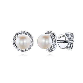 White Gold Round Diamond Halo Pearl Stud Earrings