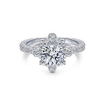 Starburst Halo Round Diamond Engagement Ring Mounting