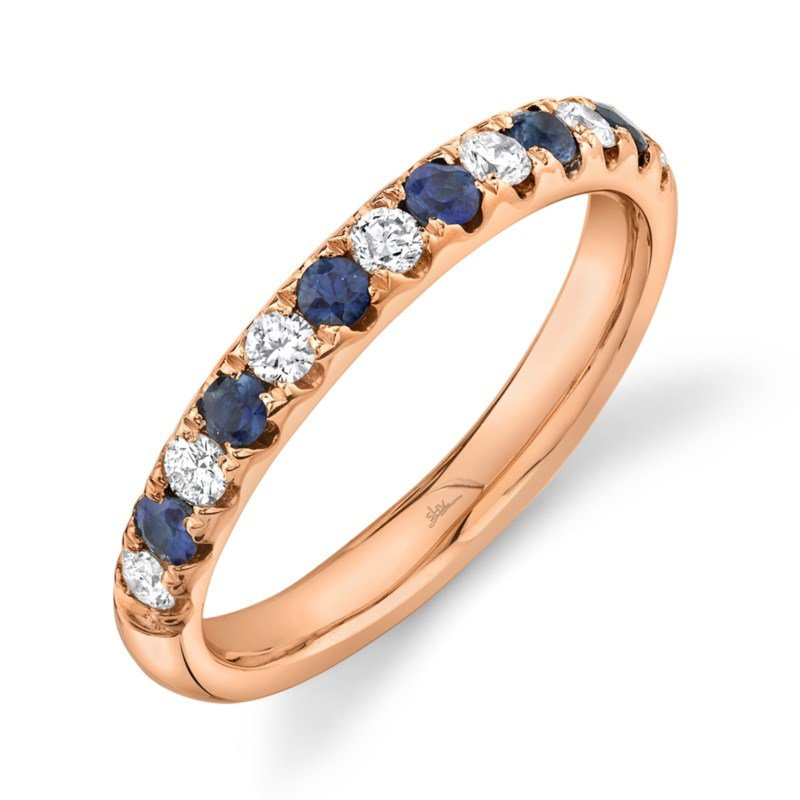 Shy Creation Rose Gold Diamond and blue Sapphire Band