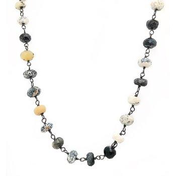 """Dendrite Opal Rondelles 42"""" Necklace"""