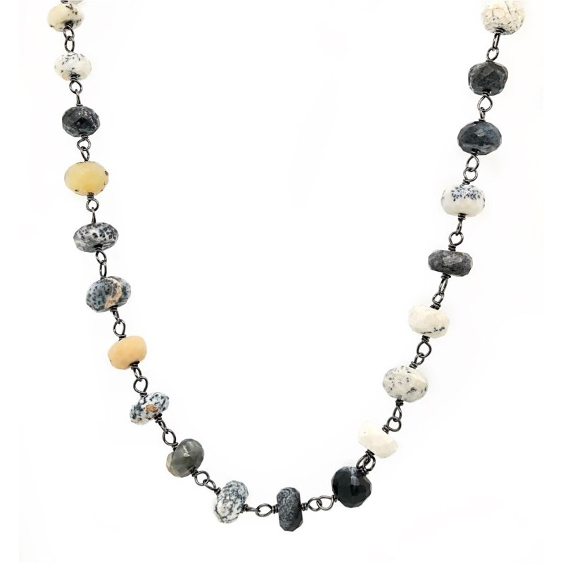 "ela rae new york city Dendrite Opal Rondelles 42"" Necklace"