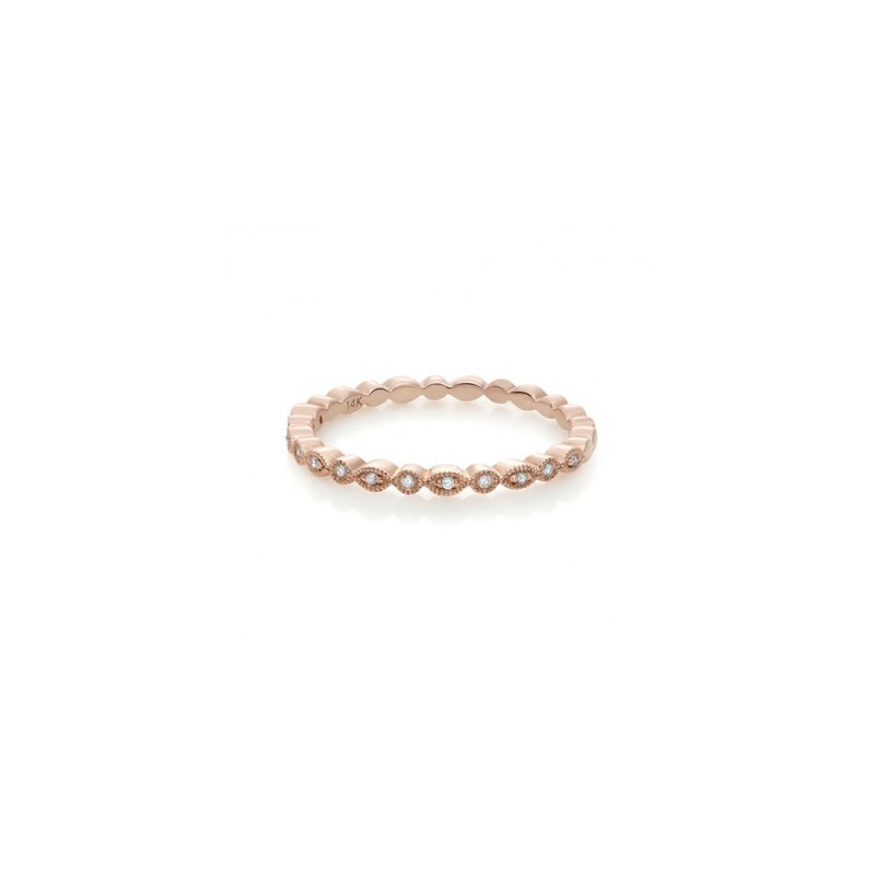 Lauray's Signature Collection Rose Gold Milgrain Eternity Wedding Band