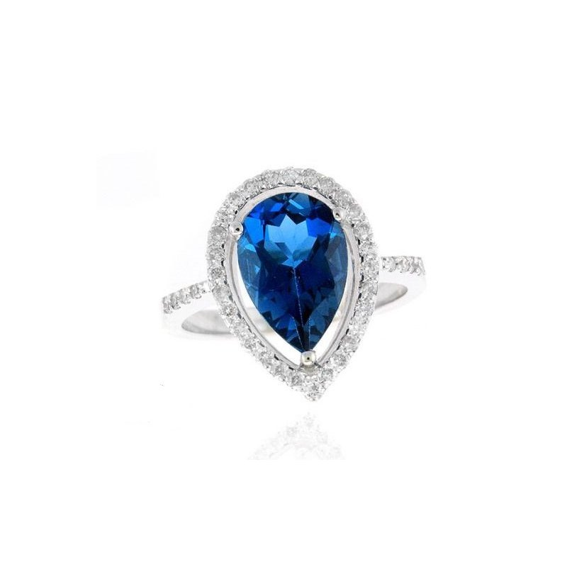 Lauray's Signature Collection London Blue Topaz and Diamond Ring