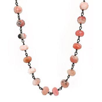 "Ela Rae Pink Moonstone Rondelles 42"" Necklace"