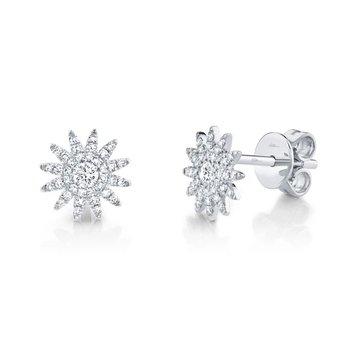 White Gold Diamond Starburst Stud Earrings
