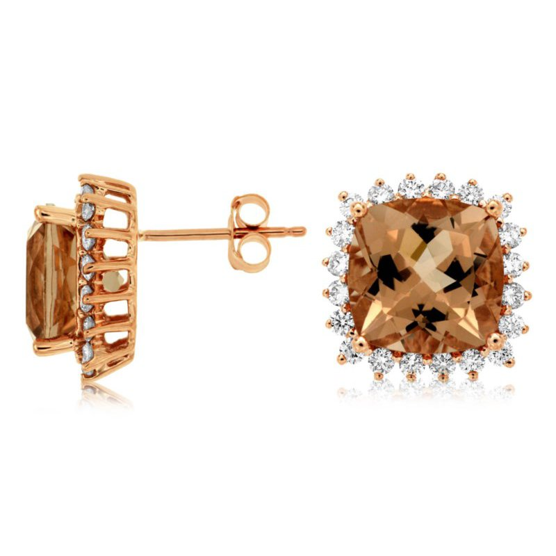 Lauray's Signature Collection Morganite and Diamond Earrings