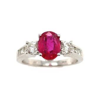White Gold Ruby and Diamond Ring