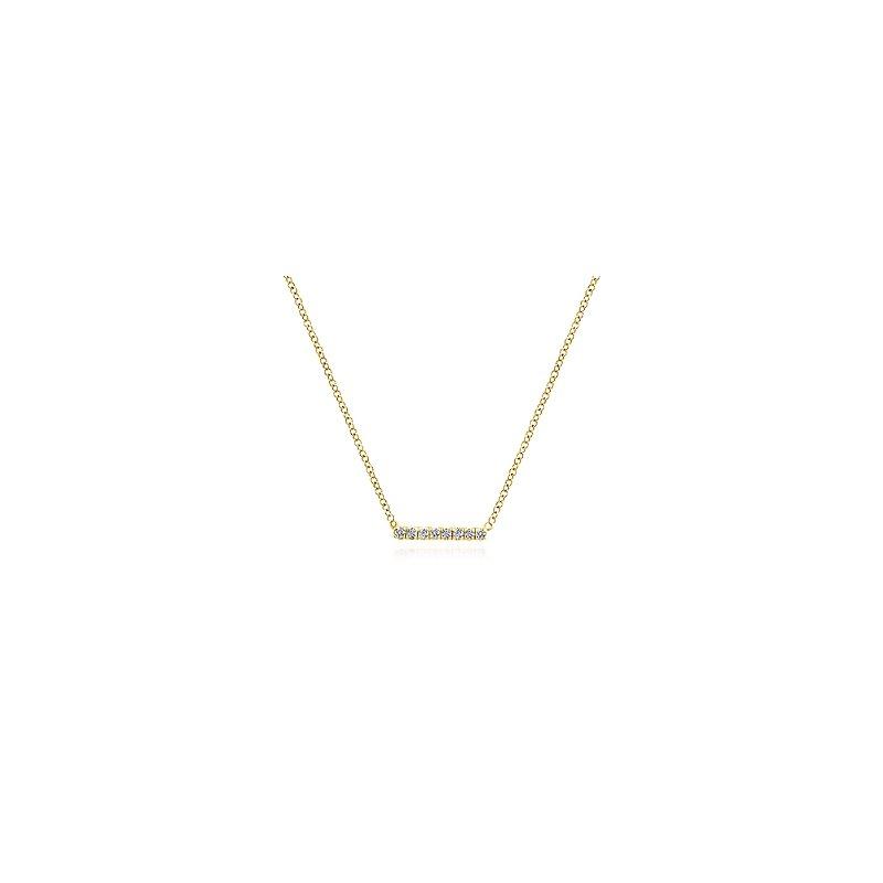 Gabriel Catalog Petite Pave Diamond Bar Necklace