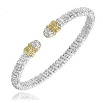 Yellow Gold and Sterling Silver Open Bangle