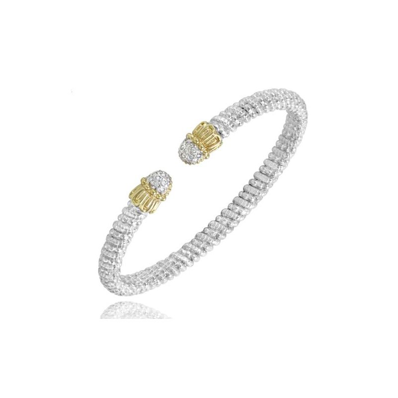 Alwand Vahan Yellow Gold and Sterling Silver Open Bangle
