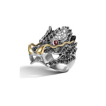 Naga Head Ring, Black Sapphire and White Sapphire