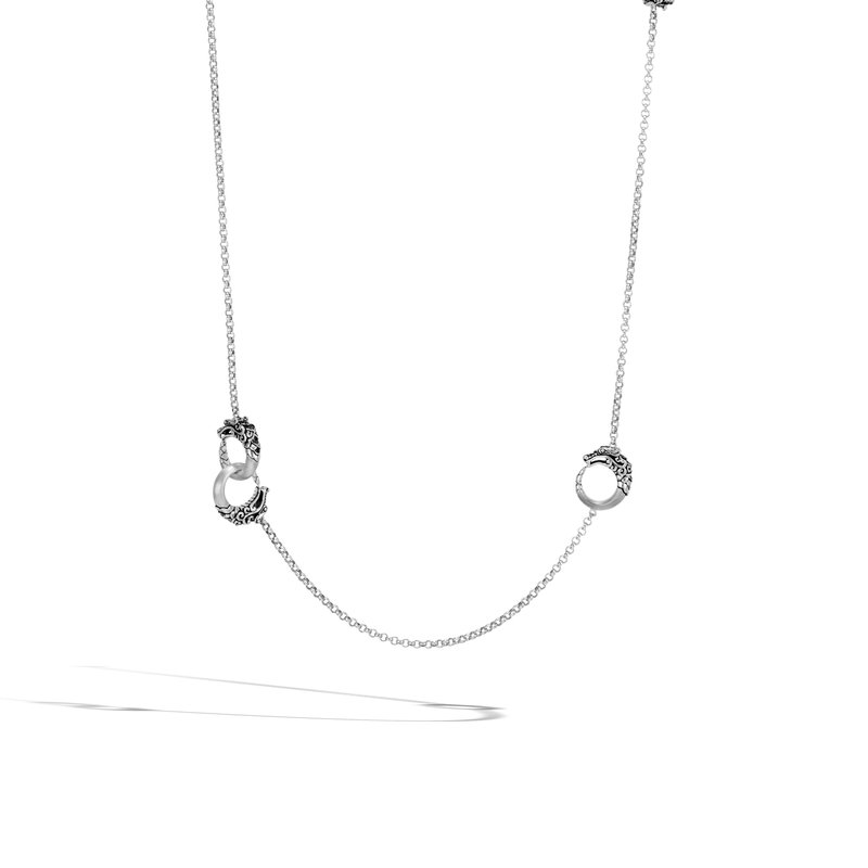 John Hardy Naga Brushed Long Necklace with Black Spinel
