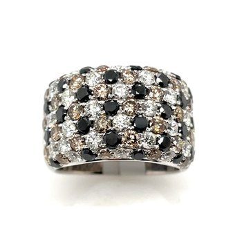 White Gold Wide Diamond Band