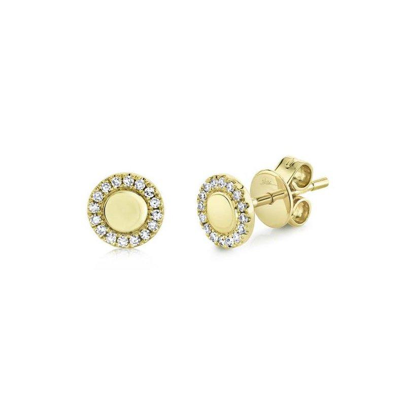 Shy Creation Yellow Gold Diamond Stud Earrings
