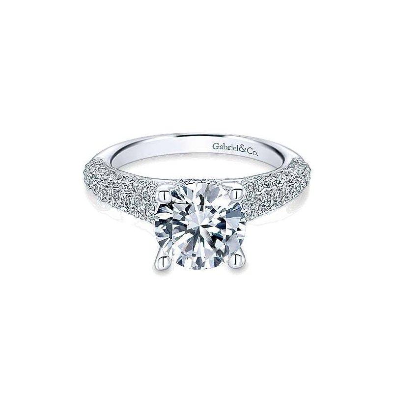 Gabriel Catalog White Gold Round Diamond Semi Mounting