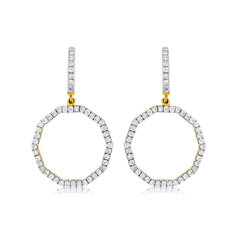 Lauray's Signature Collection Yellow Gold Diamond Fashion Earrings