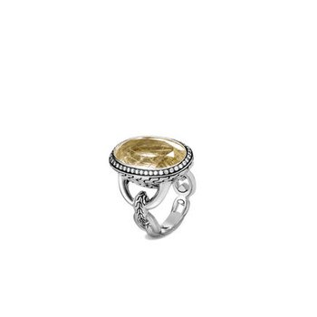 Classic Chain Knife Edge Ring, Rutilated Quartz, Diamonds