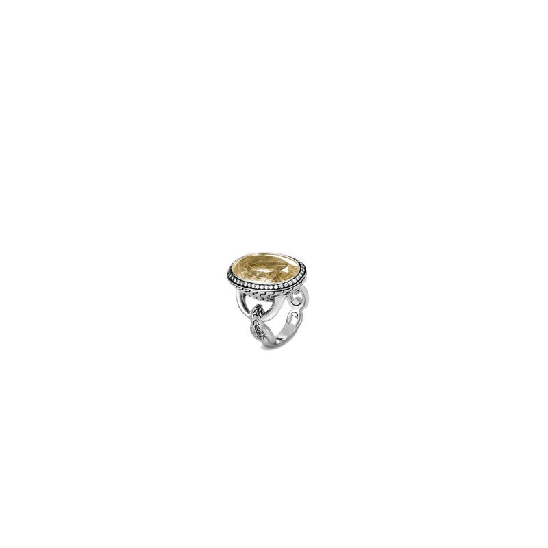 JOHN HARDY Classic Chain Knife Edge Ring, Rutilated Quartz, Diamonds