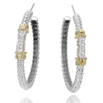Yellow Gold and Sterling Silver Diamond Hoop Earrings