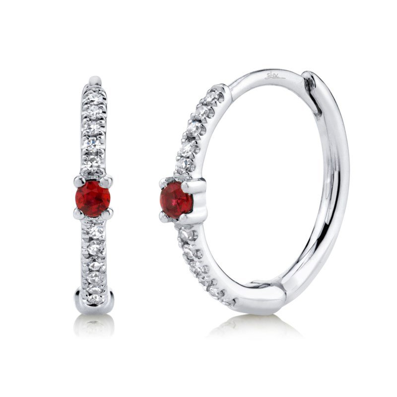 Shy Creation White Gold Ruby and Diamond Huggie Earrings