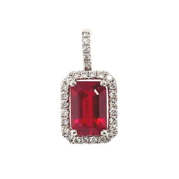 White Gold Emerald Cut Ruby Pendant