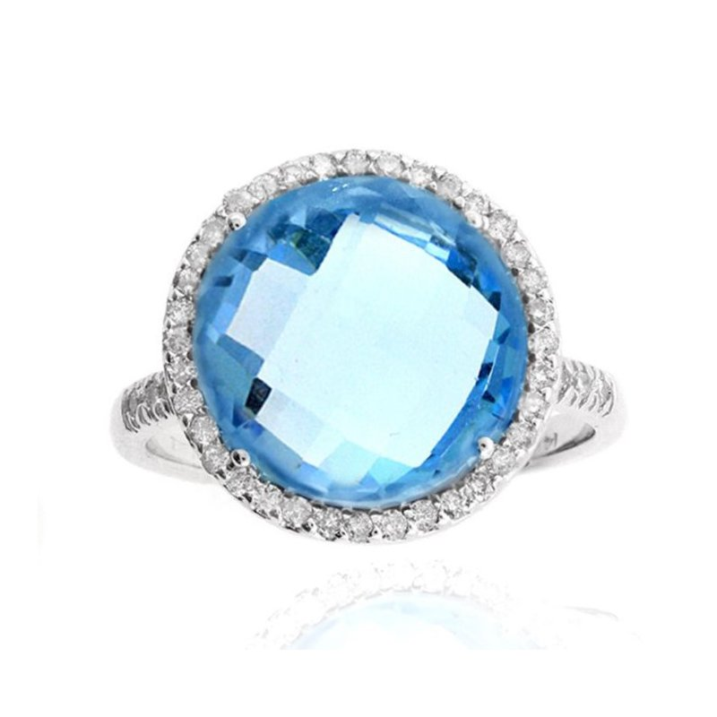 Lauray's Signature Collection White Gold Blue Topaz Diamond Ring