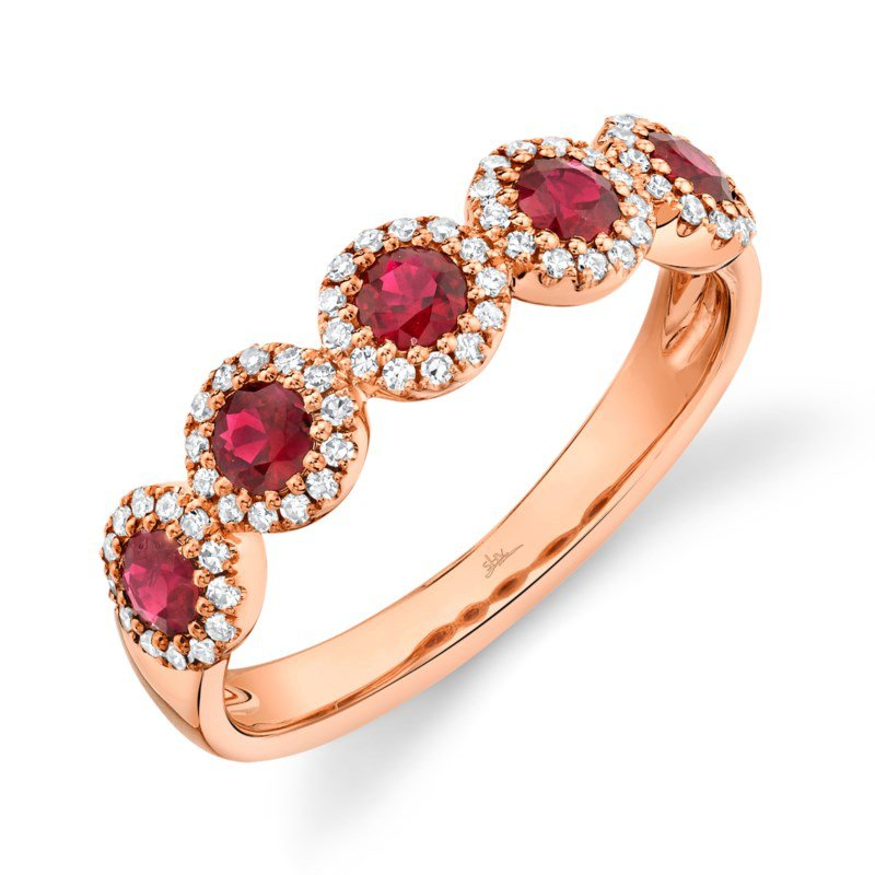 Shy Creation Rose Gold Diamond and Ruby Band