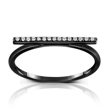 Black Rhodium Diamond Bar Ring