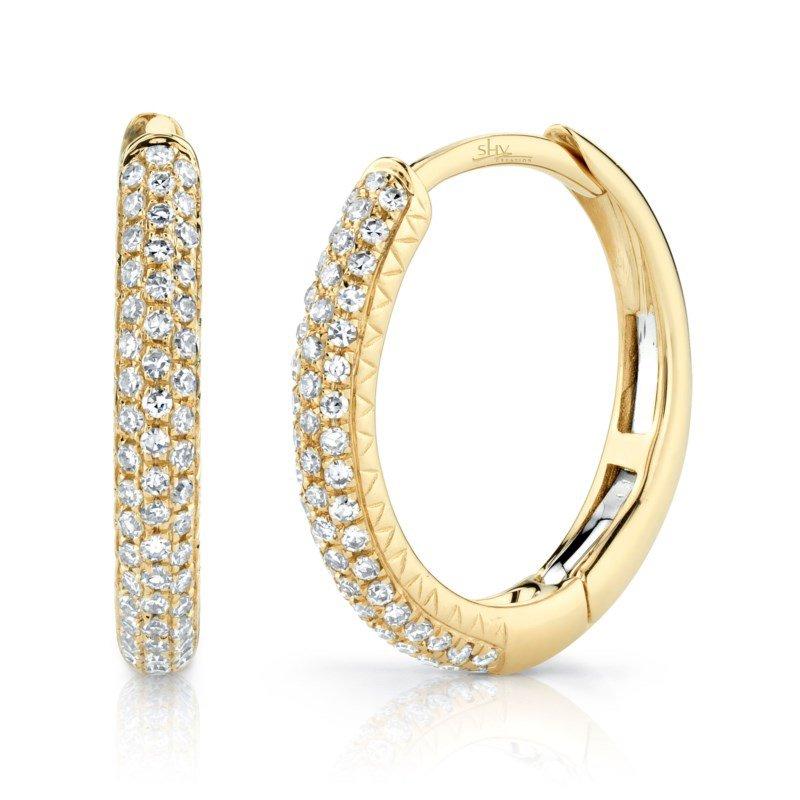 Shy Creation Yellow Gold Diamond Pave Huggie Earrings